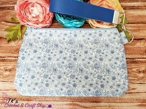 Blue and White Floral Large Vinyl Clutch Bag