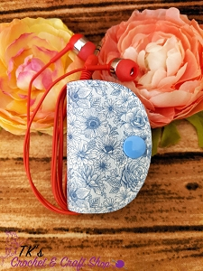 Blue and White Floral Ear Bud Holder