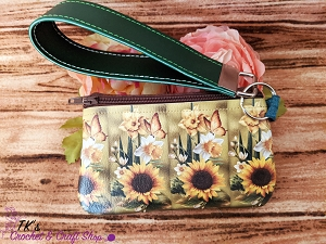 Sunflower and Butterfly Small Vinyl Clutch Bag