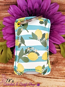 Lemon and Stripes Sanitizer Holder