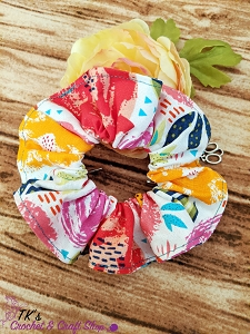 Watercolor Floral Scrunchie