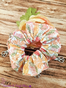 Orange and Pink Floral Scrunchie