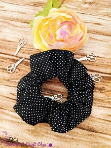 Black and White Polka Dotted Scrunchie