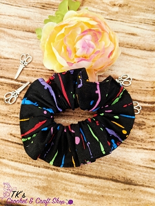 Black and Rainbow Paint Splatter Scrunchie