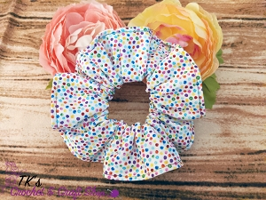 Tiny Rainbow Dots Scrunchie
