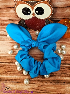 Blue Satin Knot Bow Scrunchie