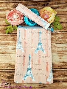 Peach Eiffel Tower Large Sunglasses Bag